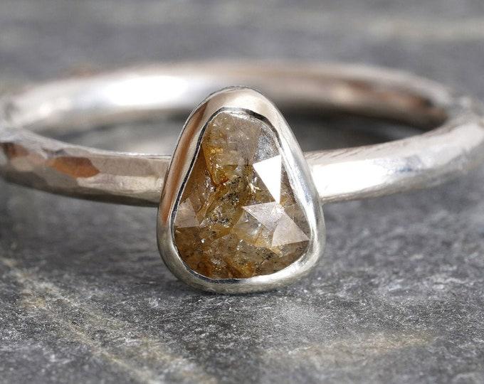 Olive Green Diamond Engagement Ring, 0.65ct Rose Cut Diamond Ring, Rustic Diamond Ring, Handmade in the UK