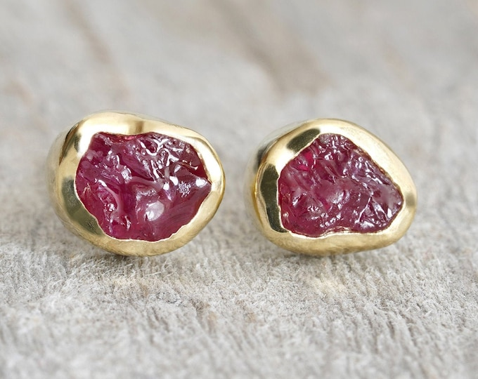 Rough Ruby Stud Earrings in 18ct Yellow Gold, Raw Ruby Stud Earrings, Ruby Wedding Gift, Rough Ruby Ear Posts