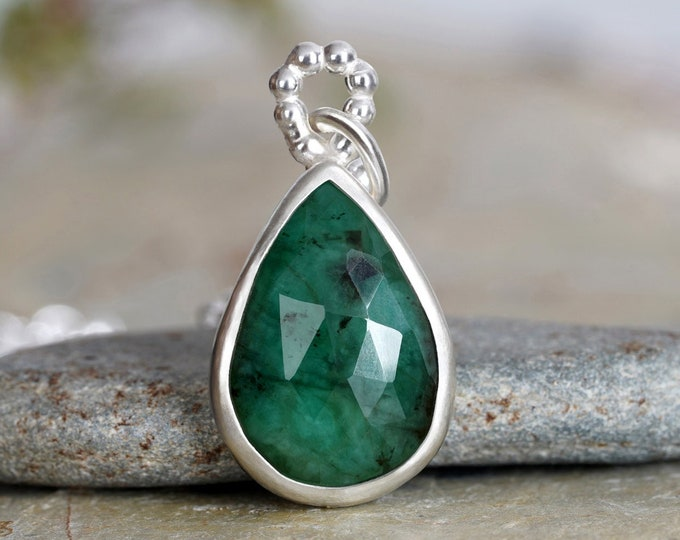 Rose Cut Emerald Necklace, Raindrop Emerald Necklace, May Birthstone Necklace