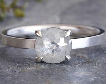 Ice White Diamond Engagement Ring, Round Diamond Ring, 0.91ct Diamond Ring