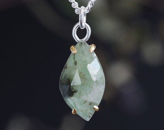 Leaf Shape Emerald Necklace, 3.65ct Emerald Necklace, May Birthstone Necklace
