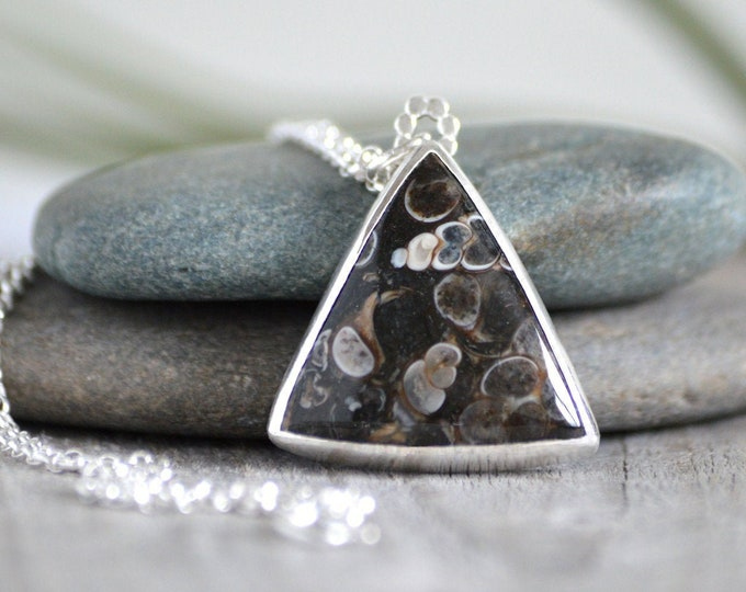 Triangular Turritella Agate Necklace, Large Agate Necklace, Unique Agate Necklace, One of A Kind Necklace, Handmade in The UK