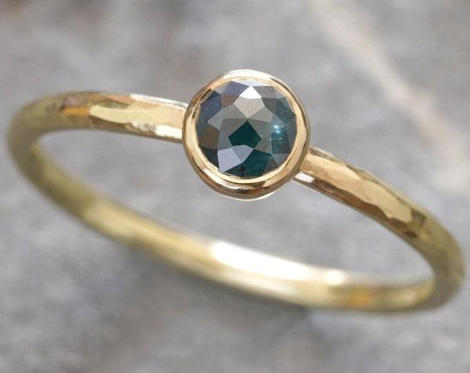 Peacock Blue Diamond Engagement Ring in 18ct Yellow Gold, Rustic Diamond Ring, Rose Cut Diamond Ring