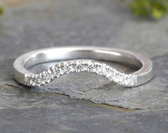 Diamond Contour Wedding Band, 0.11ct Diamond Wedding Ring, Contour Wedding Ring with Diamonds, Pave Diamond Ring
