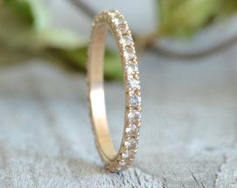Colourless Sapphire Eternity Ring, White Sapphire Eternity Ring, Sapphire Wedding Ring, Size J