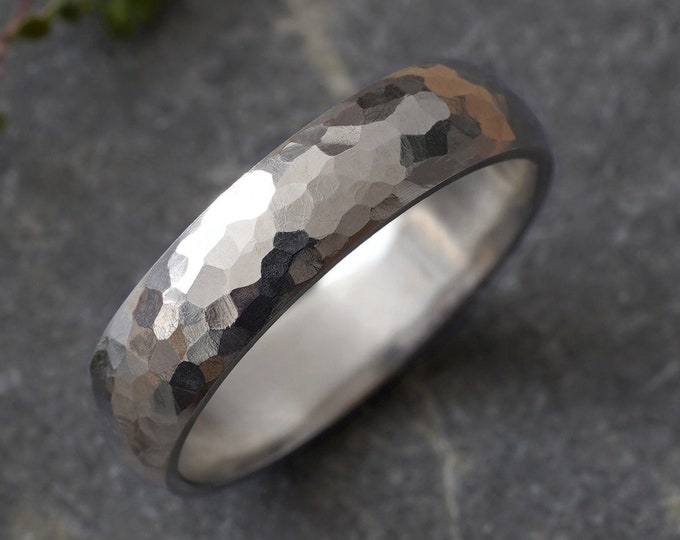 White gold Wedding Band With Hammered Effect, 5mm Wedding Band, Rustic Wedding Band, Made to Order