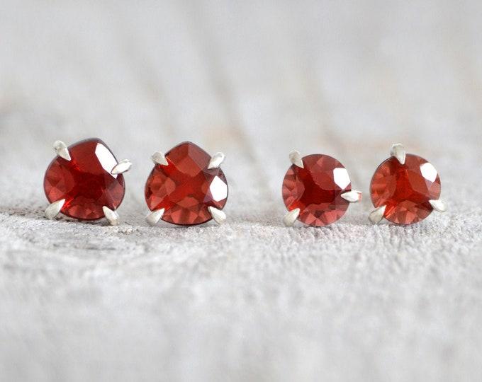 Rose Cut Garnet Stud Earrings, Garnet Ear Posts