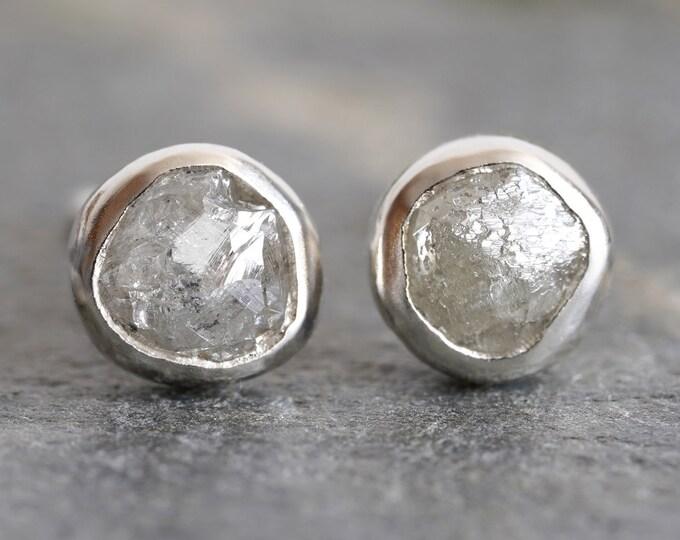 Silver Grey Diamond Ear Studs, Rough Diamond Stud Earrings, Total 0.9ct Diamonds