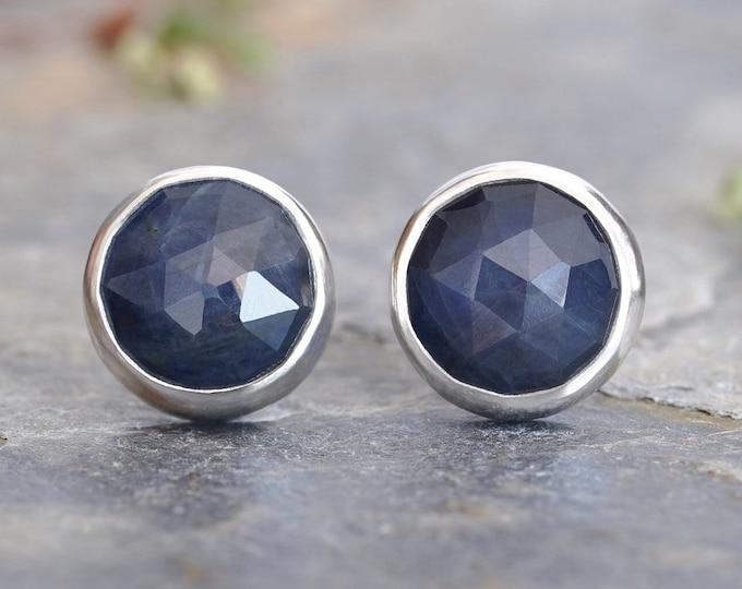 Sapphire Stud Earrings in Midnight Blue, 9mm Sapphire Ear Posts, Rose Cut Sapphire Earrings