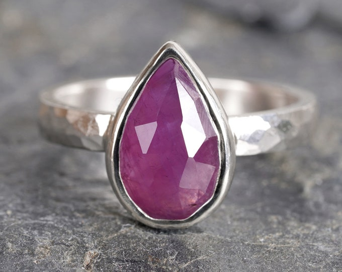 Rose Cut Pink Sapphire Ring, Raindrop Pink Sapphire Ring, September Birthstone Ring