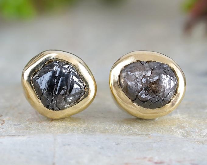 Rough Black Diamond Stud Earrings in 18ct Yellow Gold, Total 1.0ct Diamonds, Natural Black Diamond Ear Studs