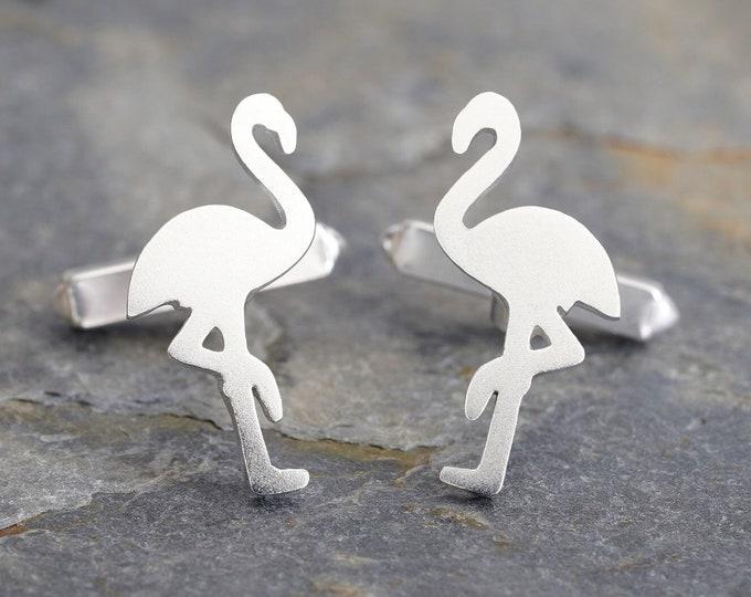 Flamingo Cufflinks in Solid Sterling Silver, Animal Cufflinks