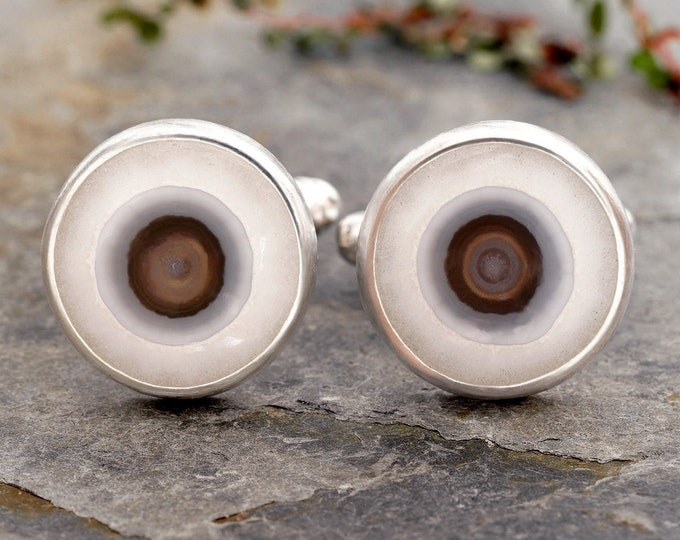 Eye Agate Cufflinks in Sterling Silver, One of A Kind Cufflinks, Gemstone Cufflinks