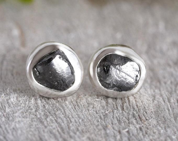 Raw Diamond Stud Earrings, Total 1.55ct Diamonds, Natural Black Diamond Studs, Black Diamond Wedding Gift Handmade in England