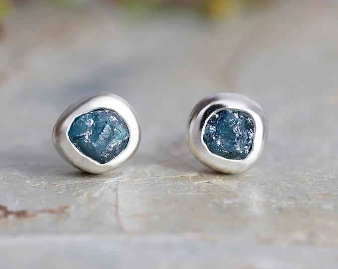 Rough Blue Diamond Stud Earrings, Natural Blue Diamond Stud Earrings, Diamond Ear Posts, Made to Order