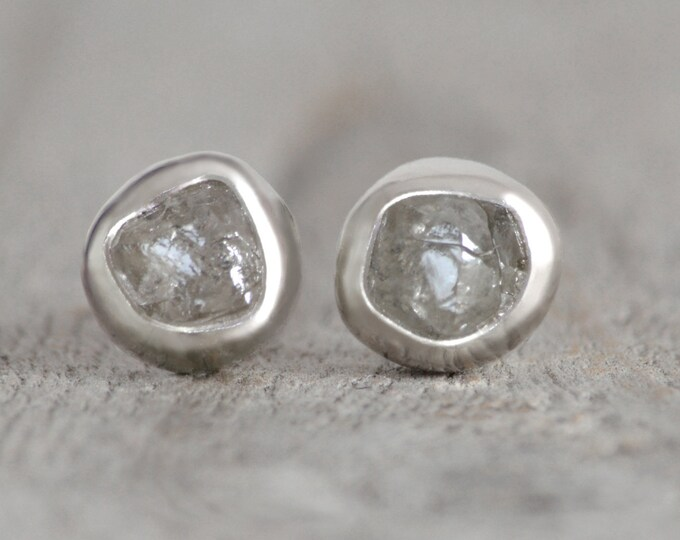 Rough Diamond Stud Earrings, Total 1.30ct Diamonds, Natural Silver Grey Diamond Studs, Diamond Wedding Gift Handmade in England