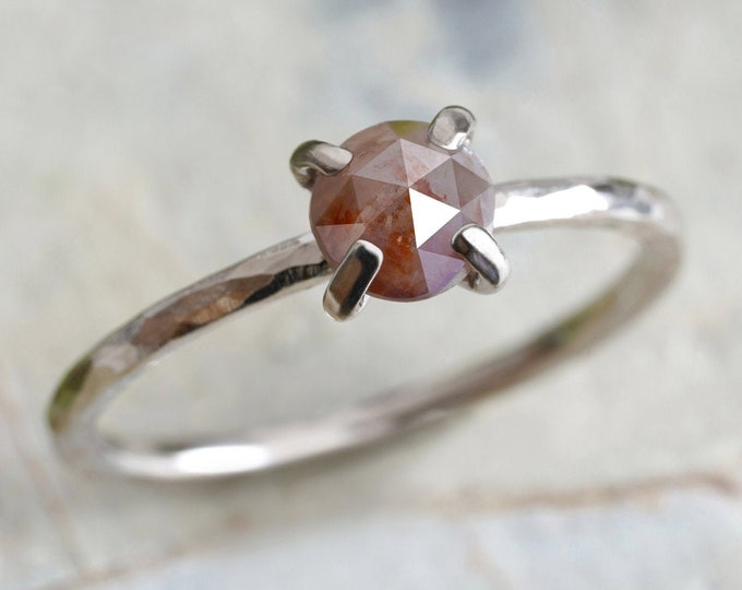 Rose Cut Diamond Engagement Ring in 18ct White Gold, 0.65ct Diamond Stacking Ring, Rustic Diamond Ring