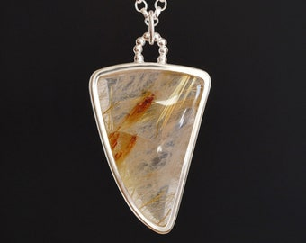 Large Golden Rutile Quartz Necklace in Sterling Silver, Statement Necklace