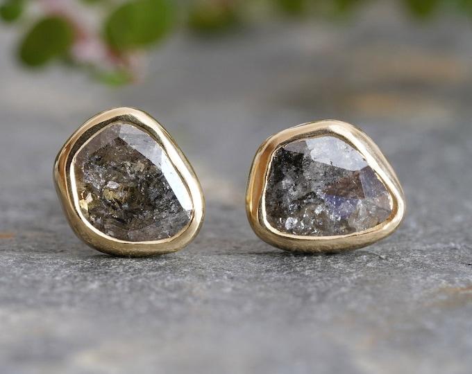 Salt and Pepper Diamond Stud Earrings in 18ct Yellow Gold, 0.75ct Rose Cut Diamond Ear Studs