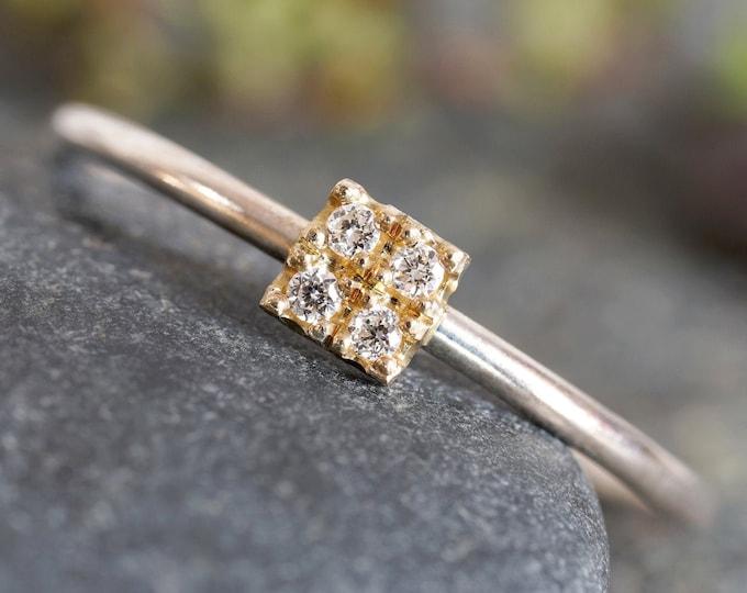 4 Diamonds Engagement Ring, Micro Pave Diamond Engagement Ring, Square Diamond Ring, Yellow Gold Diamond Ring, April Birthstone Ring