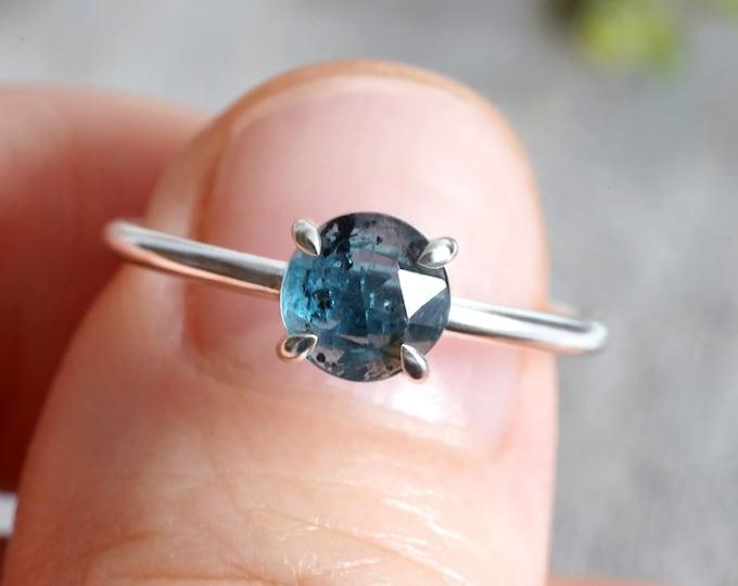 Kyanite Ring in Peacock Blue, Kyanite Ring in Sterling Silver