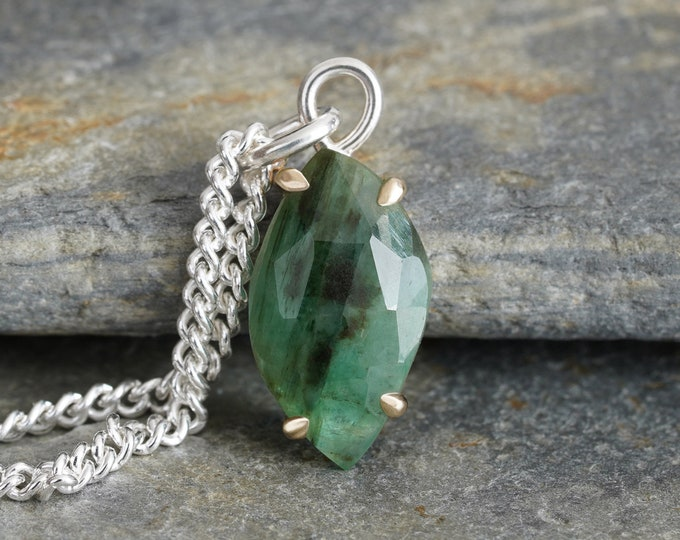 Rose Cut Emerald Necklace in 14ct Yellow Gold and Sterling Silver, 1.8ct Emerald Necklace, May Birthstone, Large Emerald Necklace