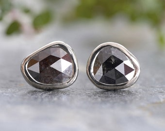 Natural Black Diamond Stud Earrings in 18ct White Gold, 0.85ct Rost Cut Diamond Ear Studs