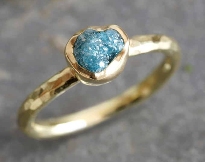 Rough Blue Diamond Engagement Ring in 18ct Yellow Gold, 1ct Diamond Ring, Rustic Diamond Ring