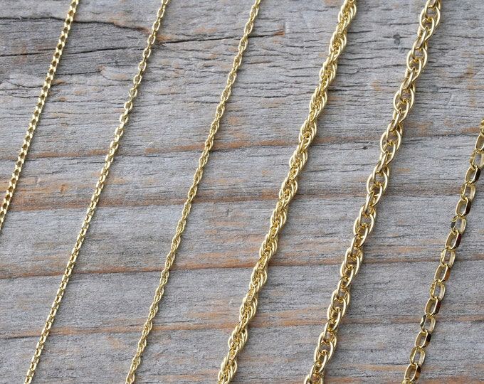 "Solid 9ct Yellow Gold Chain, Curb Chain, Belcher Chain, And Rope Chain, 16"", 18"", and 20"", DIY Necklace"