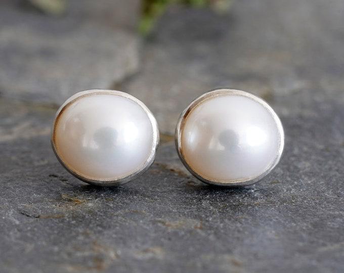 Freshwater Pearl Stud Earrings Set in Sterling Silver, Bridal Ear Posts