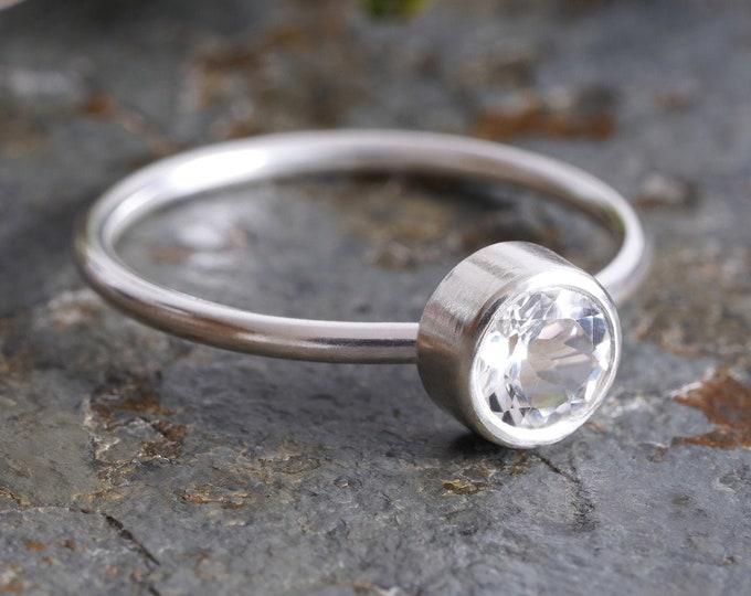 White Topaz Ring in Sterling Silver, Silver Topaz Ring, November Birthstone Ring