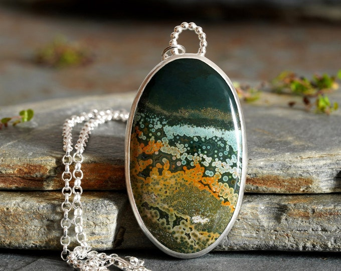Large Ocean Jasper Necklace in Sterling Silver, One of a Kind Statement Necklace