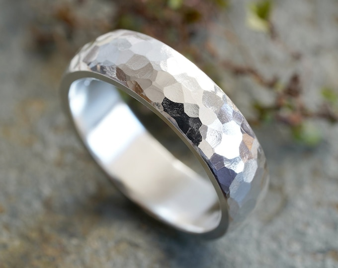 Sterling Silver Wedding Band With Hammered Effect, 5mm Wedding Ring, Rustic Wedding Band, Made To Order