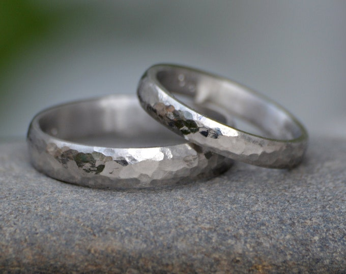 Platinum Wedding Band With Hammered Effect, Platinum Wedding Ring, 3mm Wide or 4mm Wide, Rustic Wedding Band, Made To Order
