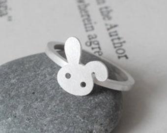 Rabbit Ring in Sterling Silver, Silver Bunny Ring, Floppy Ear Rabbit Ring