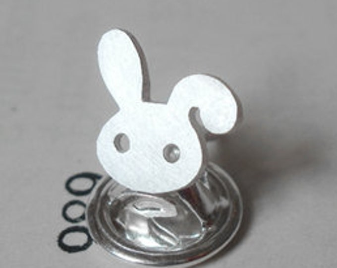 Bunny Rabbit Pin, Bunny Rabbit Lapel Pin, Bunny Rabbit Tie Tack In Sterling Silver, Handmade In England