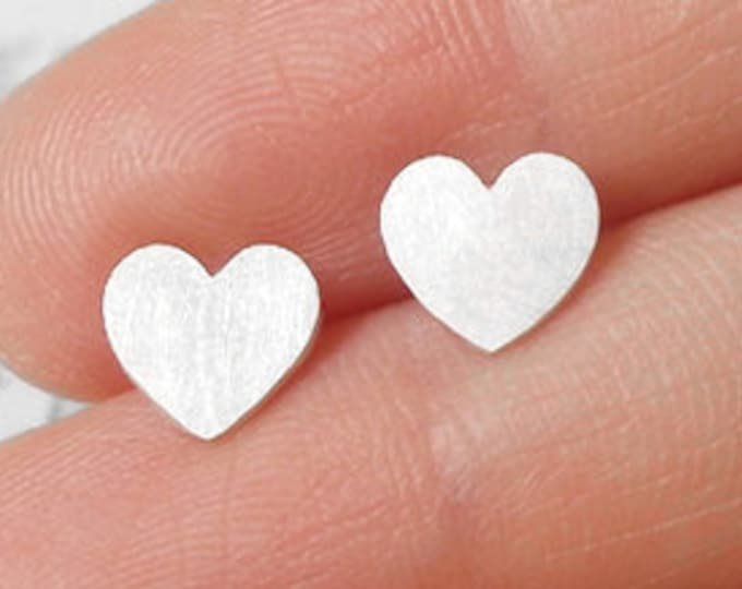 Sweet Heart Stud Earrings in Sterling Silver, Heart Shape Earring Studs Handmade in the UK