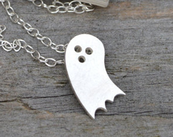 Little Ghost Necklace In Sterling Silver, Halloween Necklace, Handmade In England