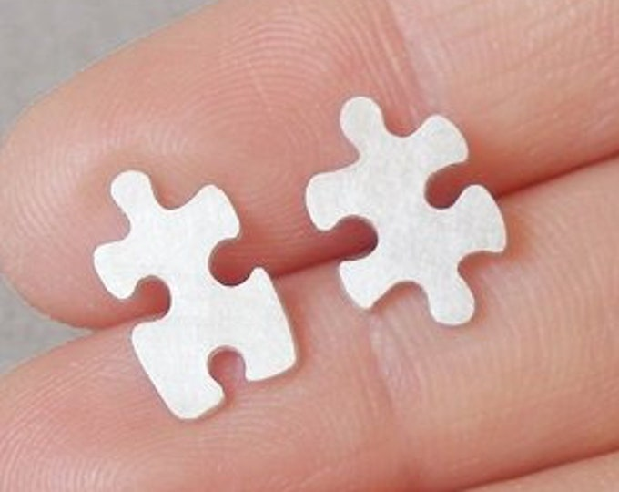 Jigsaw Puzzle Lapel Pin, Jigsaw Puzzle Tie Tack In Sterling Silver, Handmade In England
