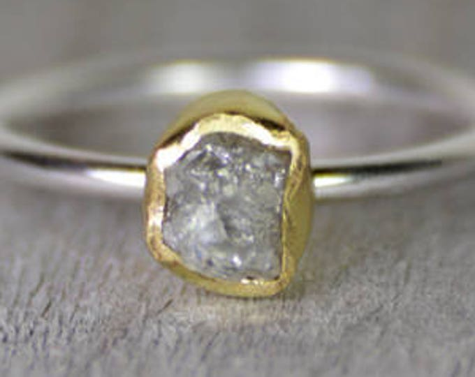 Raw Diamond Engagement Ring With 18k Yellow Gold, 0.80ct Rough Diamond Ring, Handmade In England