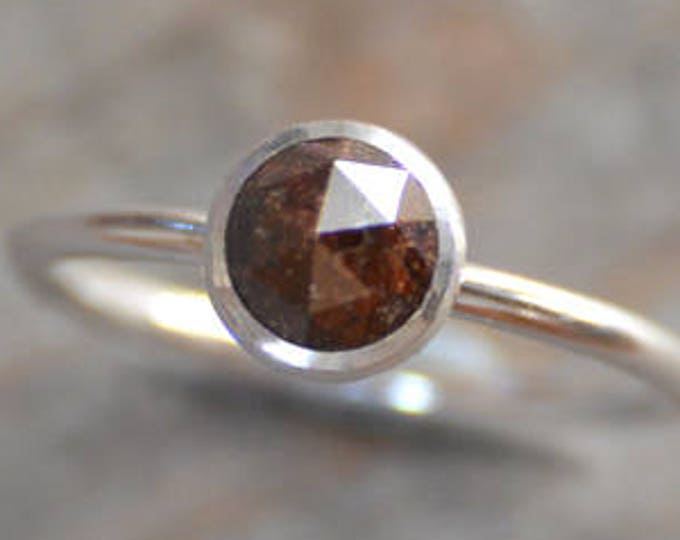 Rose Cut Diamond Engagement Ring, 1.05ct Brown Diamond Solitaire, Stackable Diamond Ring, Diamond Wedding Ring, Fancy Color Diamond Ring
