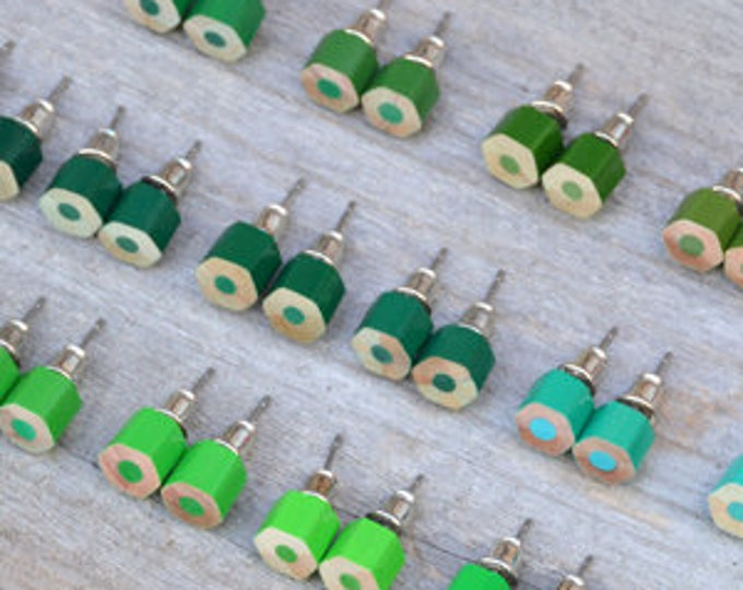 Green Colour Pencil Ear Studs, Green Earring Stud, 18 Shades Of Green, Handmade in England