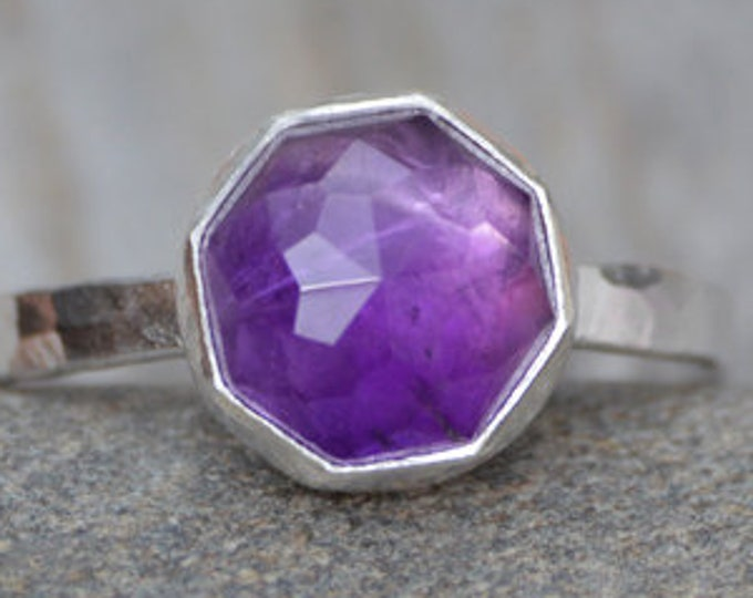Amethyst Stacking Ring Set in Sterling Silver, Rose Cut Octagonal Amethyst Solitaire Ring, February Birthstone, Handmade in England