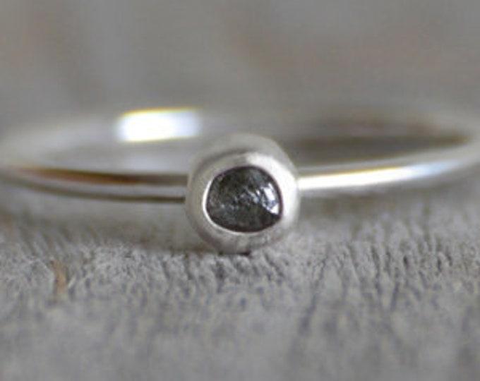 Raw Diamond Engagement Ring, Dark Grey Diamond Ring, 0.25ct Diamond Ring Handmade In England