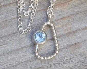 Baby Blue Topaz Necklace, November Birthstone Necklace
