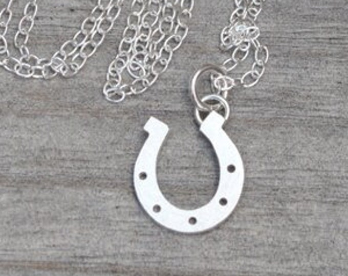 Lucky Horseshoe Necklace in Sterling Silver, Silver Horseshoe Necklace