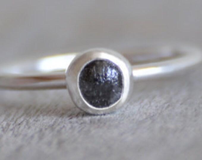 Raw Diamond Engagement Ring, Black Diamond Ring, April Birthstone, Diamond Stacking Ring, 0.7ct Diamond Ring