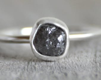 Raw Diamond Engagement Ring, 1.08ct Dark Grey Raw Diamond Ring, Handmade In England