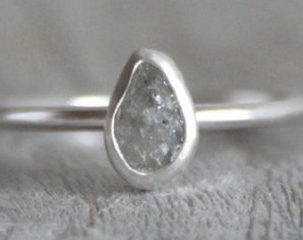 Raindrop Diamond Engagement Ring, Raw Diamond Ring, 1.03ct Light Grey Raw Diamond Ring, Handmade In England
