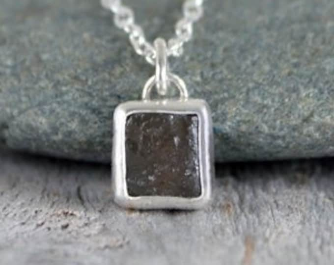 Raw Tourmaline Necklace in Dark Green, Small Rough Tourmaline Necklace, October Birthstone Necklace, 0.6ct tourmaline